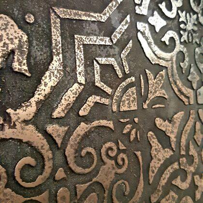 Metalická stěrka- tekutý kov měď, hliník efekt Stencil